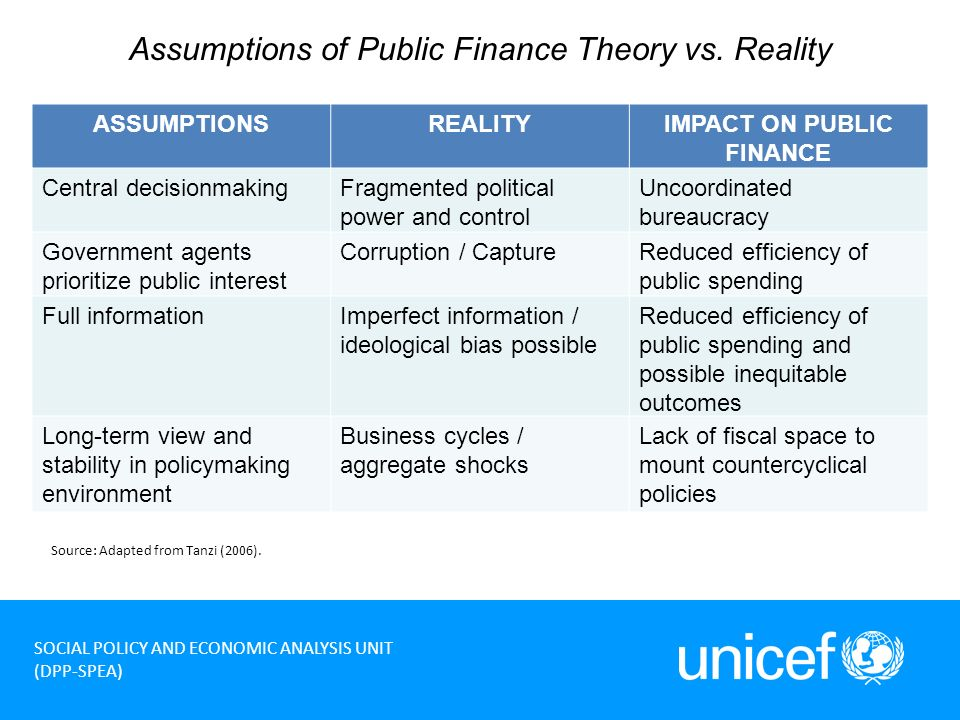 4 SOCIAL POLICY AND ECONOMIC ANALYSIS UNIT (DPP-SPEA) Assumptions of Public Finance Theory vs.