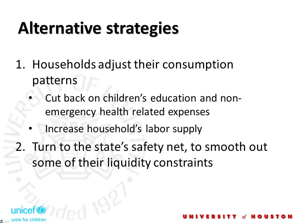 Alternative strategies 1.Households adjust their consumption patterns Cut back on childrens education and non- emergency health related expenses Increase households labor supply 2.Turn to the states safety net, to smooth out some of their liquidity constraints