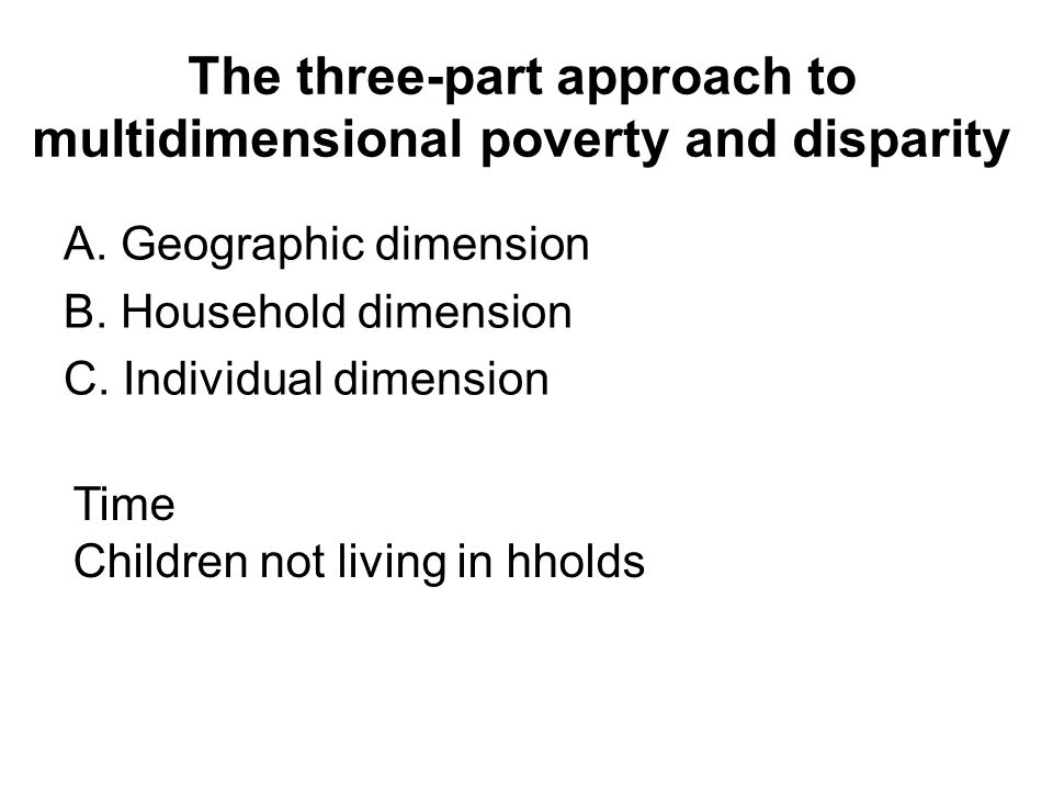 The three-part approach to multidimensional poverty and disparity A.