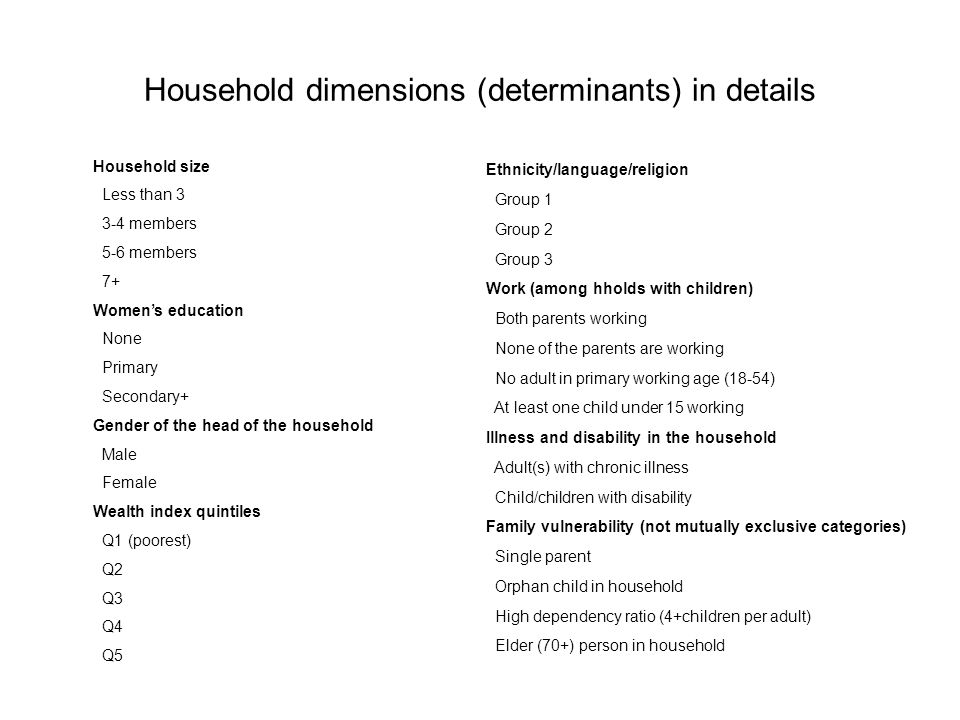 Household dimensions (determinants) in details Household size Less than 3 3-4 members 5-6 members 7+ Womens education None Primary Secondary+ Gender of the head of the household Male Female Wealth index quintiles Q1 (poorest) Q2 Q3 Q4 Q5 Ethnicity/language/religion Group 1 Group 2 Group 3 Work (among hholds with children) Both parents working None of the parents are working No adult in primary working age (18-54) At least one child under 15 working Illness and disability in the household Adult(s) with chronic illness Child/children with disability Family vulnerability (not mutually exclusive categories) Single parent Orphan child in household High dependency ratio (4+children per adult) Elder (70+) person in household