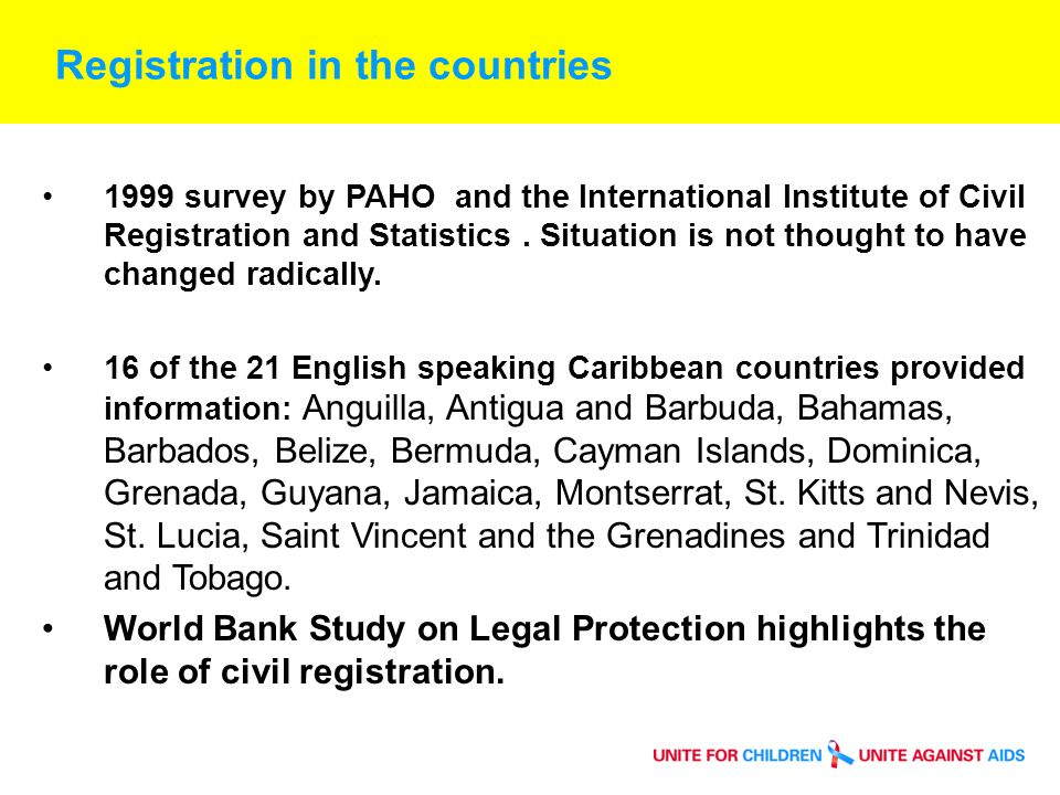Registration in the countries 1999 survey by PAHO and the International Institute of Civil Registration and Statistics.