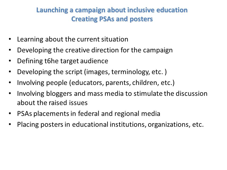 Launching a campaign about inclusive education Creating PSAs and posters Learning about the current situation Developing the creative direction for the campaign Defining t6he target audience Developing the script (images, terminology, etc.
