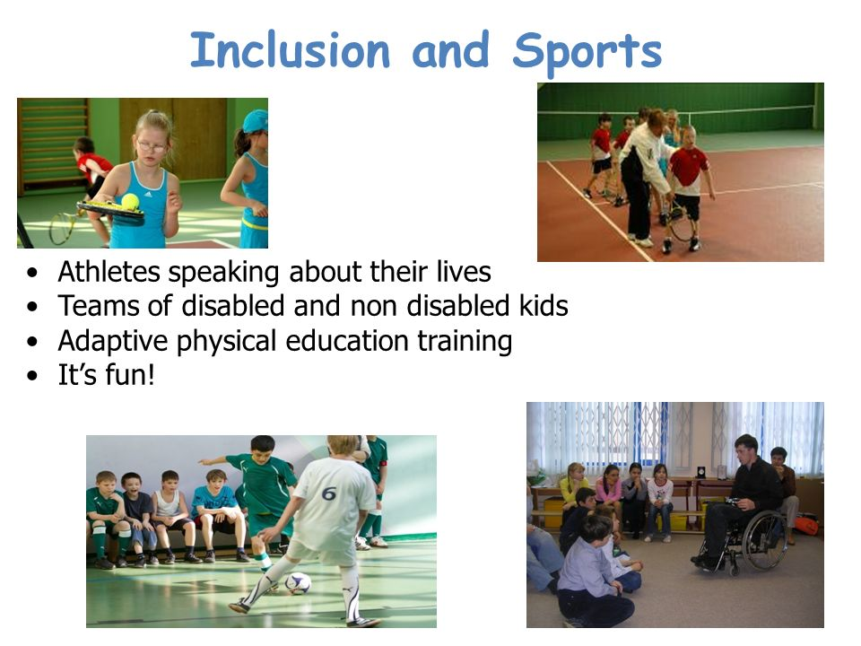 Athletes speaking about their lives Teams of disabled and non disabled kids Adaptive physical education training Its fun.