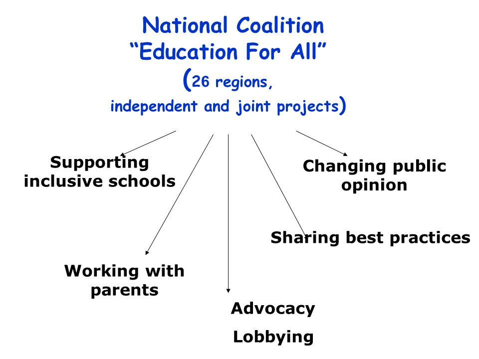 National Coalition Education For All ( 2 6 regions, independent and joint projects ) Supporting inclusive schools Working with parents Sharing best practices Changing public opinion Advocacy Lobbying