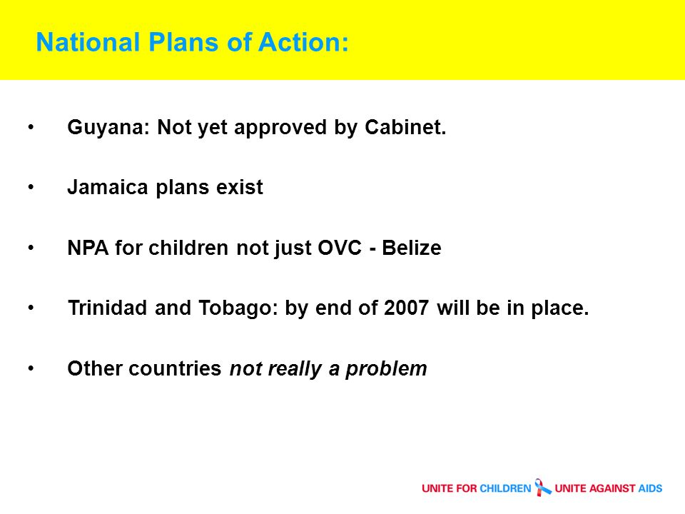 National Plans of Action: Guyana: Not yet approved by Cabinet.