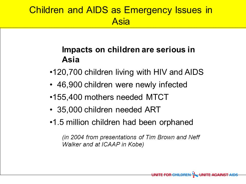 Children and AIDS as Emergency Issues in Asia Impacts on children are serious in Asia 120,700 children living with HIV and AIDS 46,900 children were newly infected 155,400 mothers needed MTCT 35,000 children needed ART 1.5 million children had been orphaned (in 2004 from presentations of Tim Brown and Neff Walker and at ICAAP in Kobe)