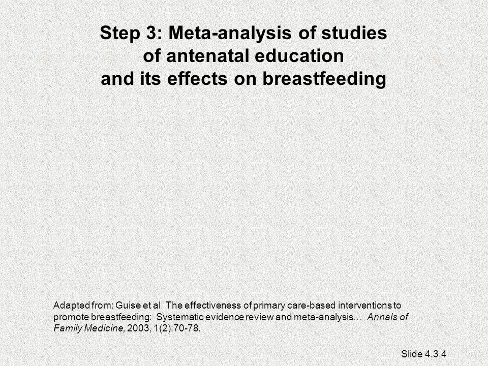 Step 3: Meta-analysis of studies of antenatal education and its effects on breastfeeding Adapted from: Guise et al.