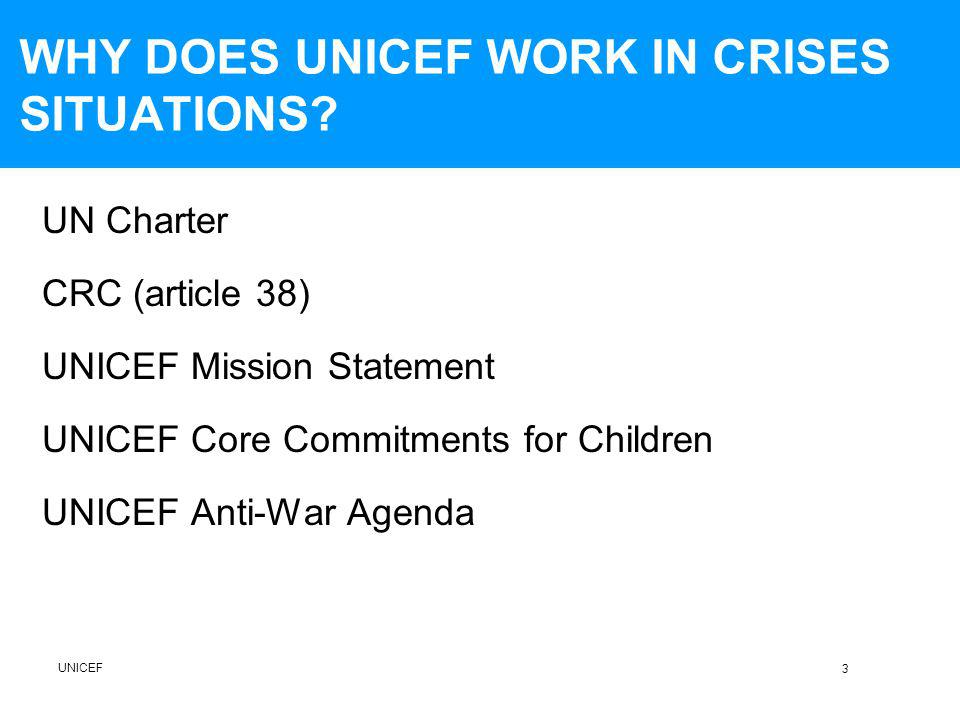 WHY DOES UNICEF WORK IN CRISES SITUATIONS.