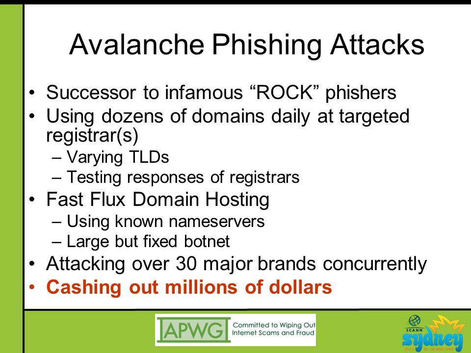 Avalanche Phishing Attacks Successor to infamous ROCK phishers Using dozens of domains daily at targeted registrar(s) –Varying TLDs –Testing responses of registrars Fast Flux Domain Hosting –Using known nameservers –Large but fixed botnet Attacking over 30 major brands concurrently Cashing out millions of dollars