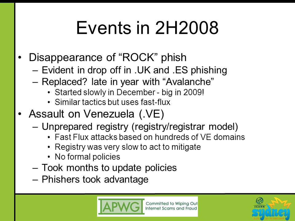 Events in 2H2008 Disappearance of ROCK phish –Evident in drop off in.UK and.ES phishing –Replaced.