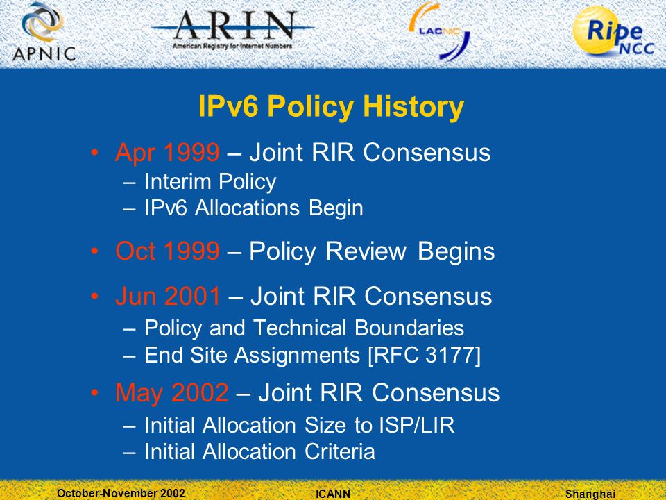 Shanghai October-November 2002 ICANN IPv6 Policy History Apr 1999 – Joint RIR Consensus –Interim Policy –IPv6 Allocations Begin Oct 1999 – Policy Review Begins Jun 2001 – Joint RIR Consensus –Policy and Technical Boundaries –End Site Assignments [RFC 3177] May 2002 – Joint RIR Consensus –Initial Allocation Size to ISP/LIR –Initial Allocation Criteria