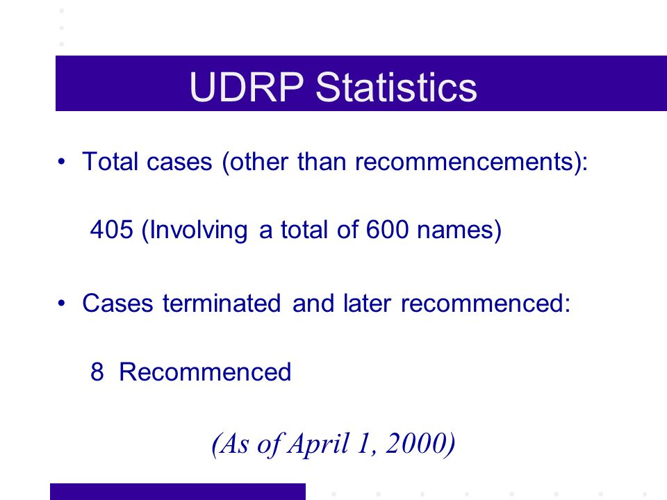 UDRP Statistics Total cases (other than recommencements): 405 (Involving a total of 600 names) Cases terminated and later recommenced: 8 Recommenced (As of April 1, 2000)
