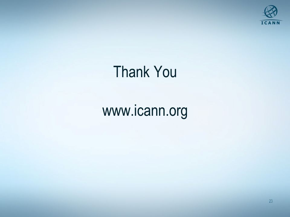 23 Thank You www.icann.org