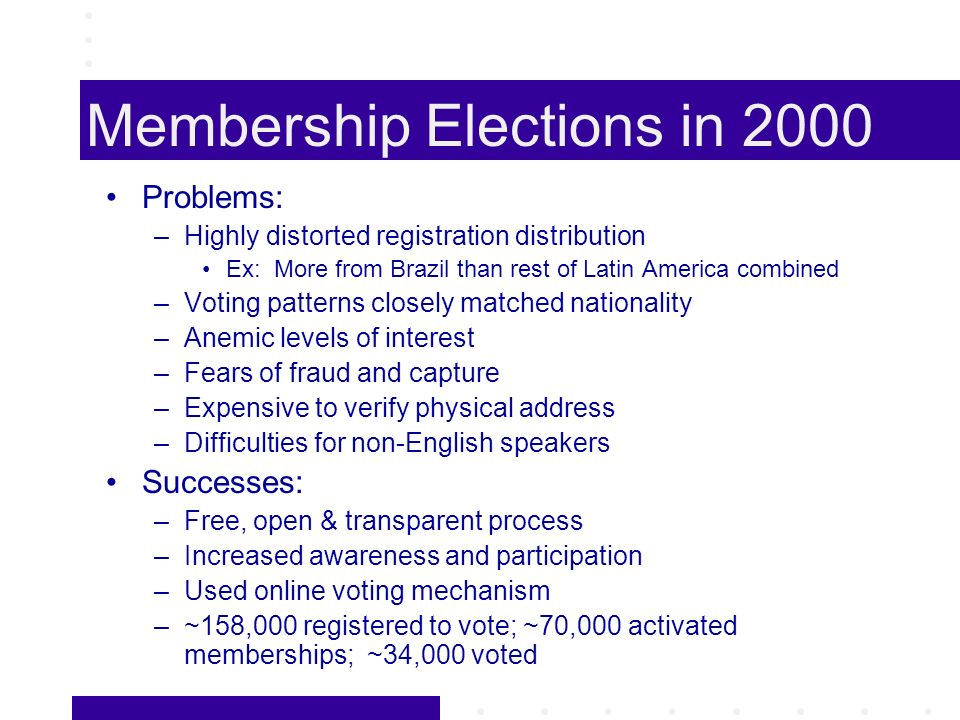 Membership Elections in 2000 Problems: –Highly distorted registration distribution Ex: More from Brazil than rest of Latin America combined –Voting patterns closely matched nationality –Anemic levels of interest –Fears of fraud and capture –Expensive to verify physical address –Difficulties for non-English speakers Successes: –Free, open & transparent process –Increased awareness and participation –Used online voting mechanism –~158,000 registered to vote; ~70,000 activated memberships; ~34,000 voted