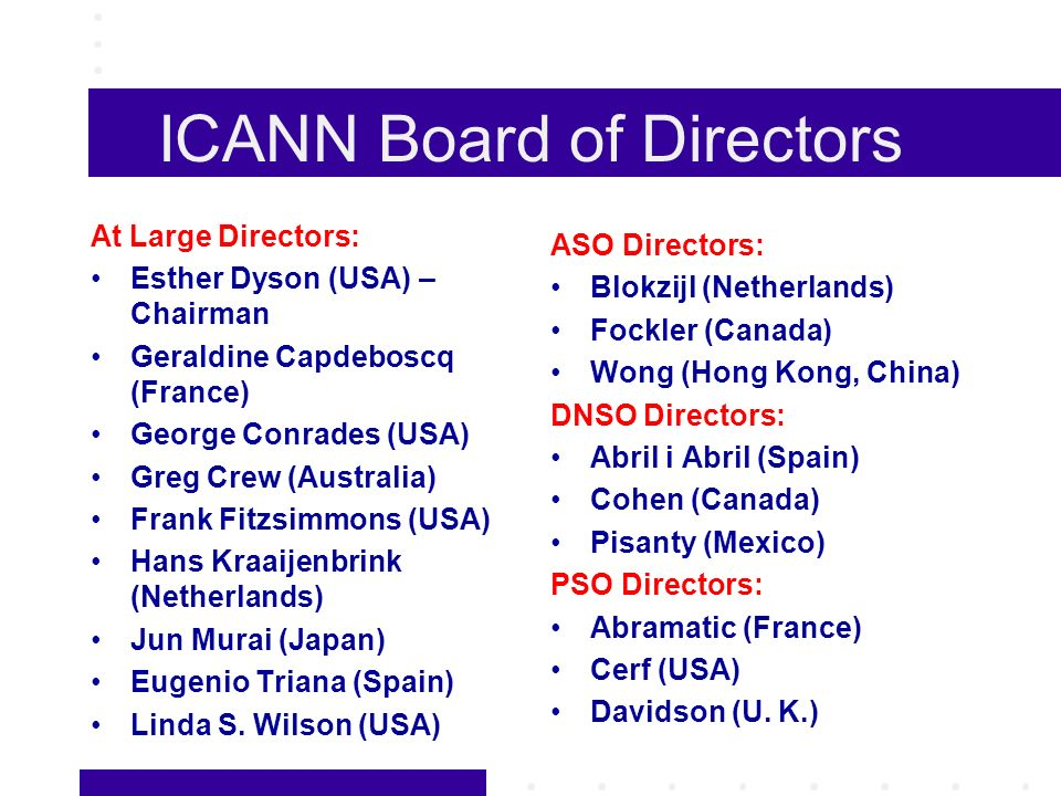 ICANN Board of Directors At Large Directors: Esther Dyson (USA) – Chairman Geraldine Capdeboscq (France) George Conrades (USA) Greg Crew (Australia) Frank Fitzsimmons (USA) Hans Kraaijenbrink (Netherlands) Jun Murai (Japan) Eugenio Triana (Spain) Linda S.