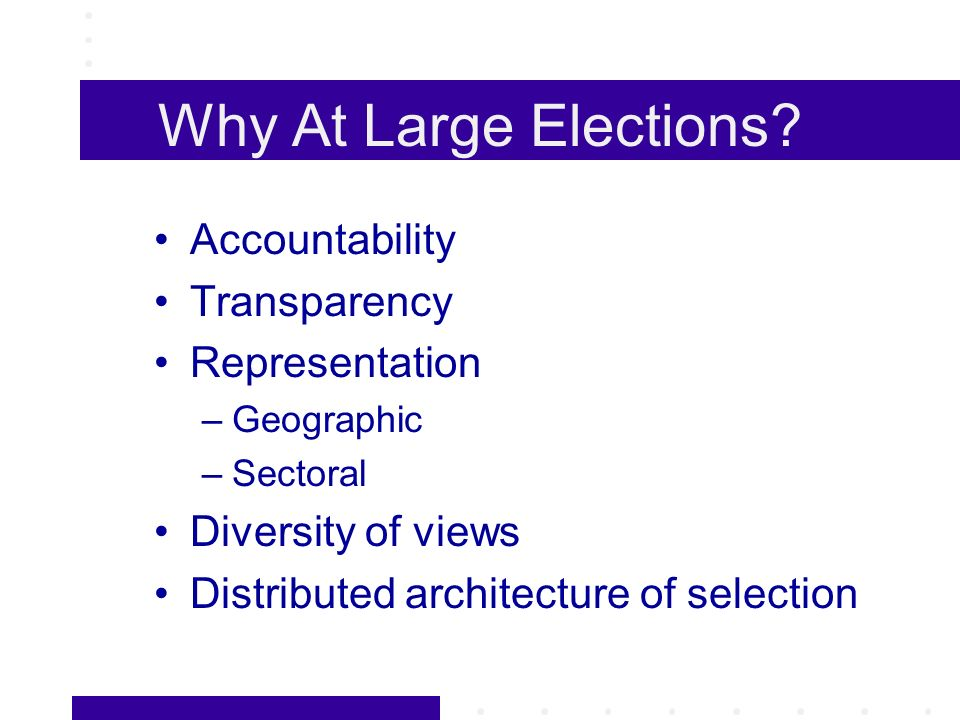 Why At Large Elections.