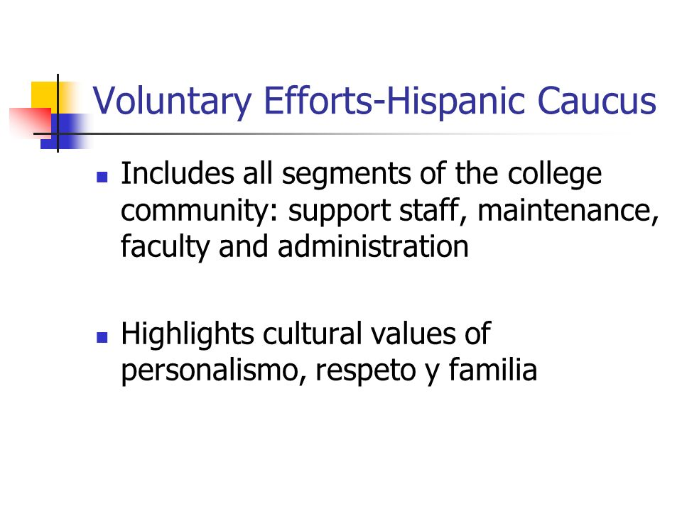 Voluntary Efforts-Hispanic Caucus Includes all segments of the college community: support staff, maintenance, faculty and administration Highlights cultural values of personalismo, respeto y familia