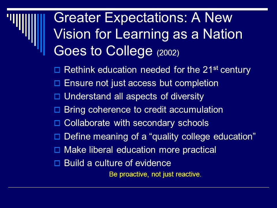 Greater Expectations: A New Vision for Learning as a Nation Goes to College (2002) Rethink education needed for the 21 st century Ensure not just access but completion Understand all aspects of diversity Bring coherence to credit accumulation Collaborate with secondary schools Define meaning of a quality college education Make liberal education more practical Build a culture of evidence Be proactive, not just reactive.
