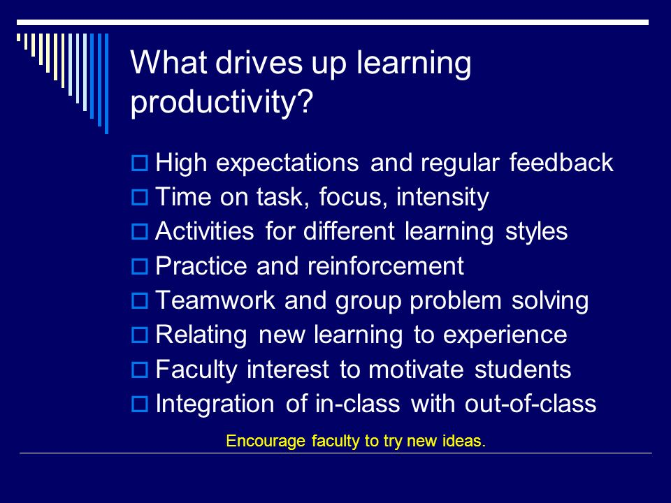 What drives up learning productivity.
