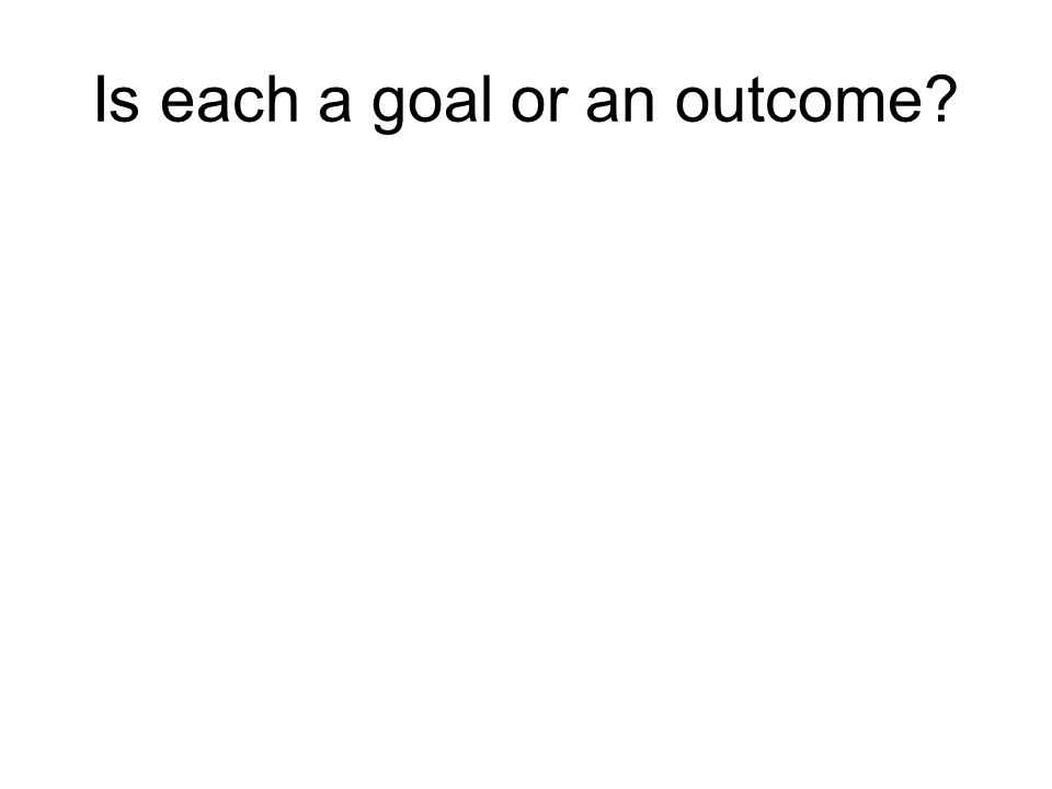 Is each a goal or an outcome