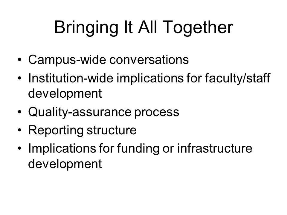 Bringing It All Together Campus-wide conversations Institution-wide implications for faculty/staff development Quality-assurance process Reporting structure Implications for funding or infrastructure development