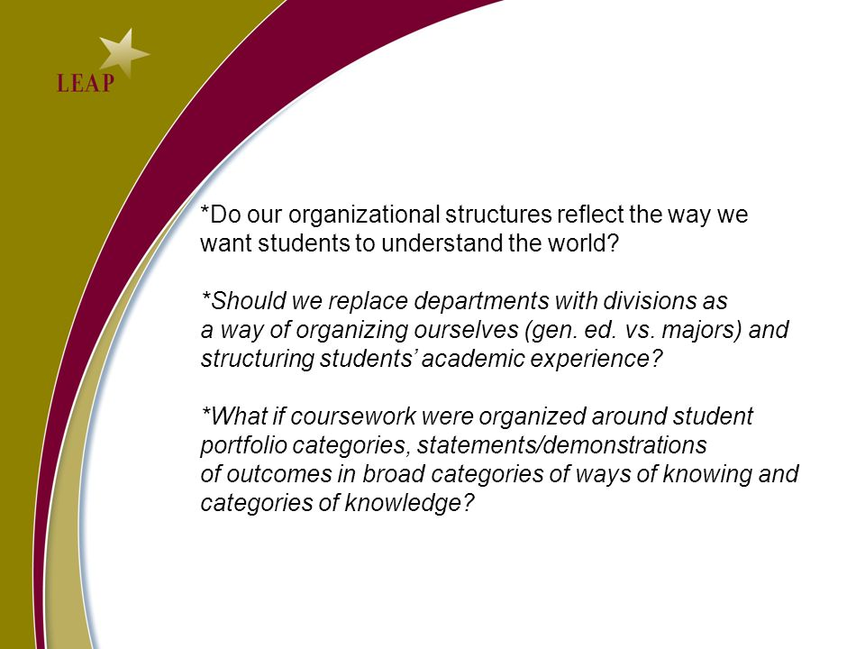 *Do our organizational structures reflect the way we want students to understand the world.
