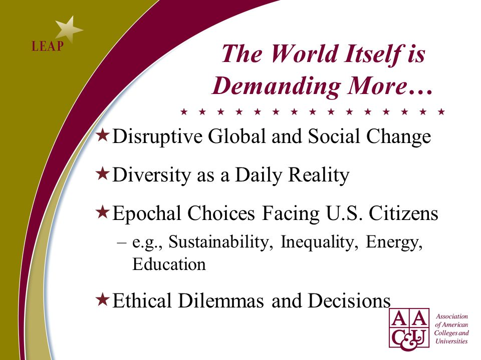 The World Itself is Demanding More… Disruptive Global and Social Change Diversity as a Daily Reality Epochal Choices Facing U.S.