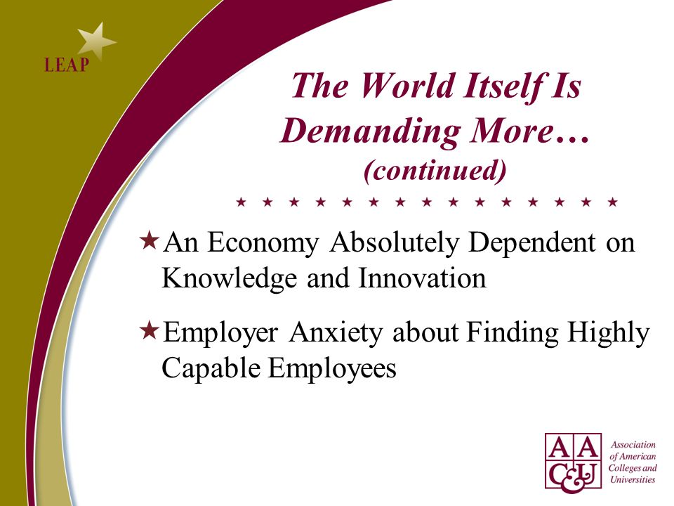 The World Itself Is Demanding More… (continued) An Economy Absolutely Dependent on Knowledge and Innovation Employer Anxiety about Finding Highly Capable Employees