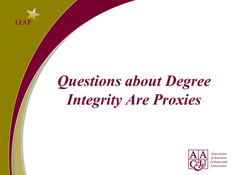 Questions about Degree Integrity Are Proxies