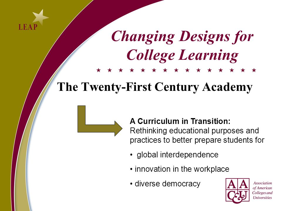 The Twenty-First Century Academy Changing Designs for College Learning A Curriculum in Transition: Rethinking educational purposes and practices to better prepare students for global interdependence innovation in the workplace diverse democracy