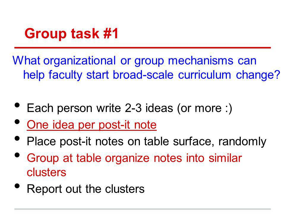 Group task #1 What organizational or group mechanisms can help faculty start broad-scale curriculum change.