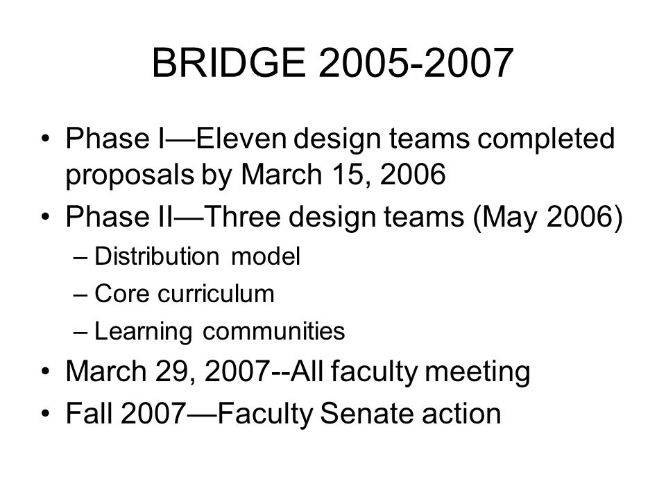 BRIDGE 2005-2007 Phase IEleven design teams completed proposals by March 15, 2006 Phase IIThree design teams (May 2006) –Distribution model –Core curriculum –Learning communities March 29, 2007--All faculty meeting Fall 2007Faculty Senate action