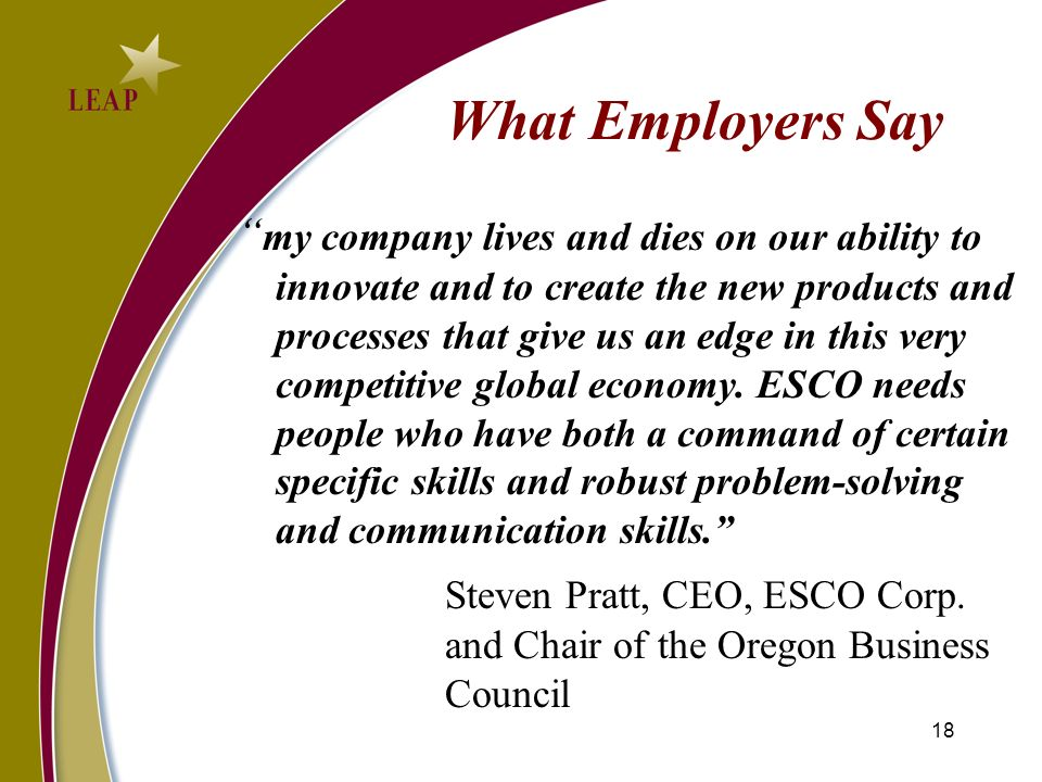 What Employers Say my company lives and dies on our ability to innovate and to create the new products and processes that give us an edge in this very competitive global economy.