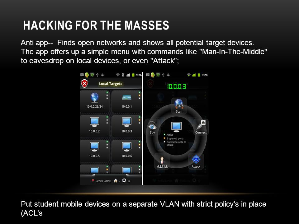 HACKING FOR THE MASSES Anti app-- Finds open networks and shows all potential target devices.