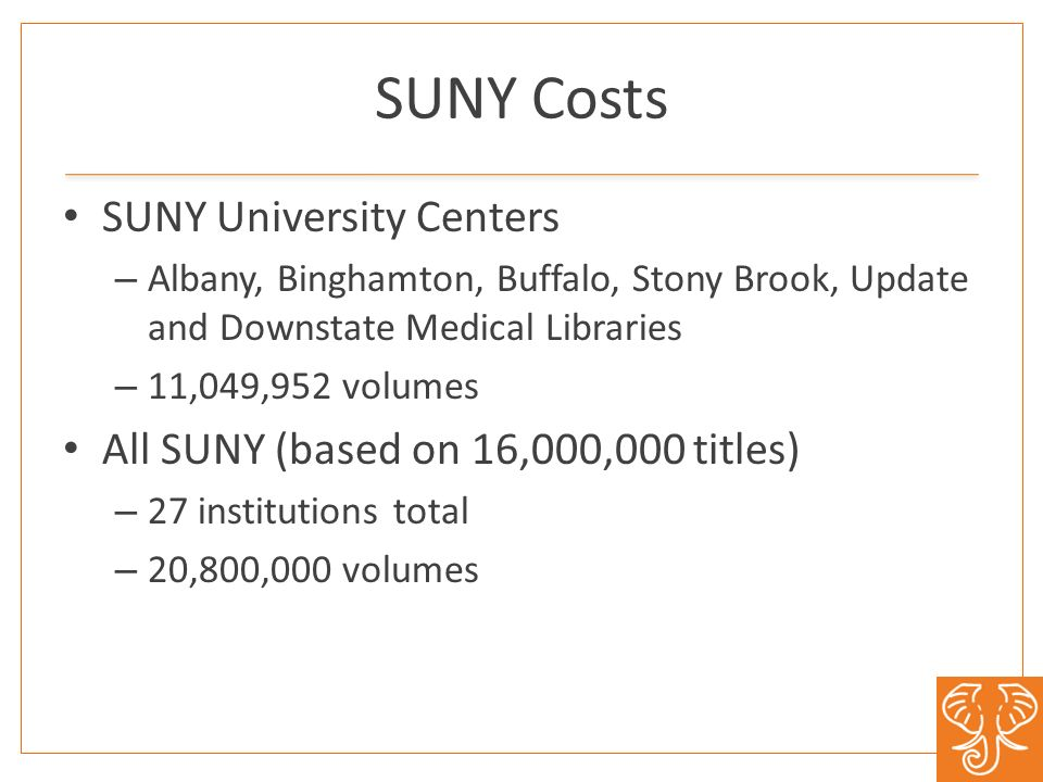 SUNY Costs SUNY University Centers – Albany, Binghamton, Buffalo, Stony Brook, Update and Downstate Medical Libraries – 11,049,952 volumes All SUNY (based on 16,000,000 titles) – 27 institutions total – 20,800,000 volumes