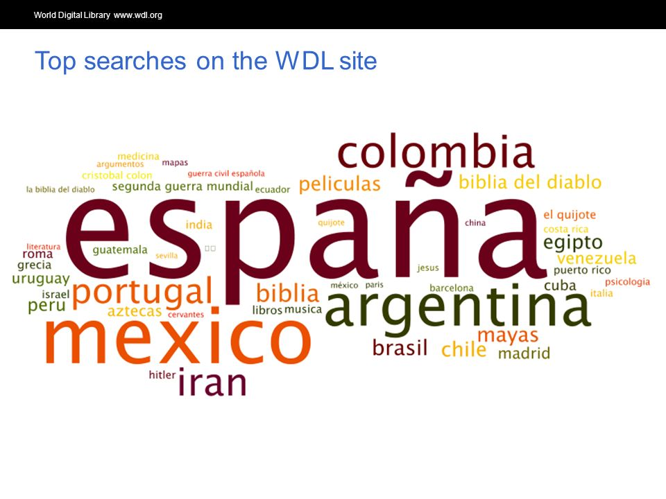 World Digital Library www.wdl.org OSI | WEB SERVICES Top searches on the WDL site