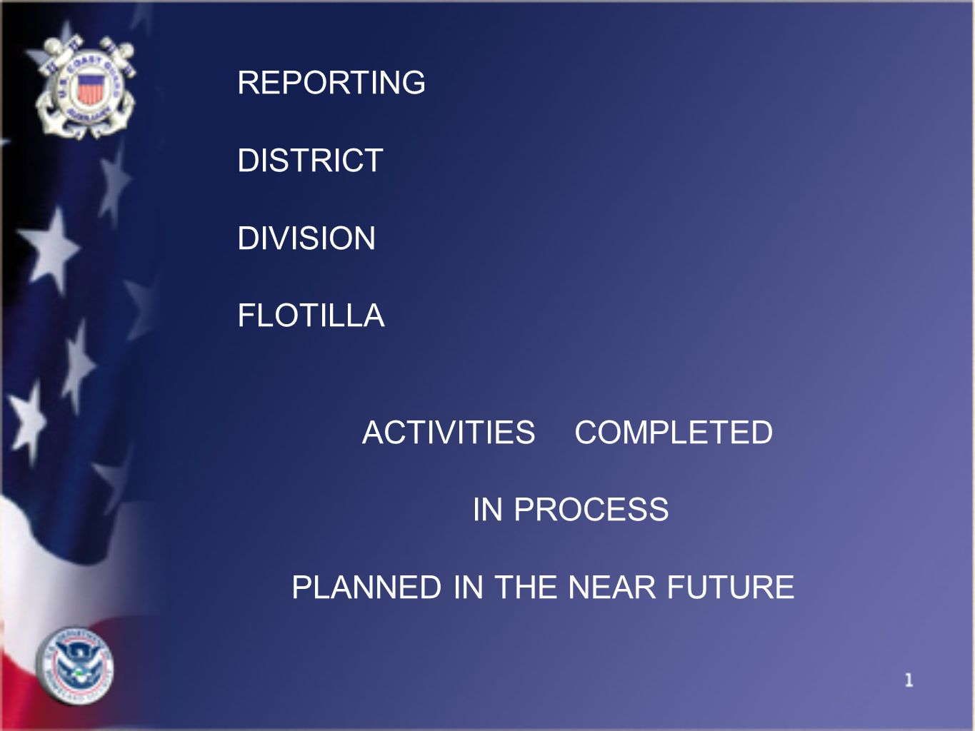 REPORTING DISTRICT DIVISION FLOTILLA ACTIVITIES COMPLETED IN PROCESS PLANNED IN THE NEAR FUTURE