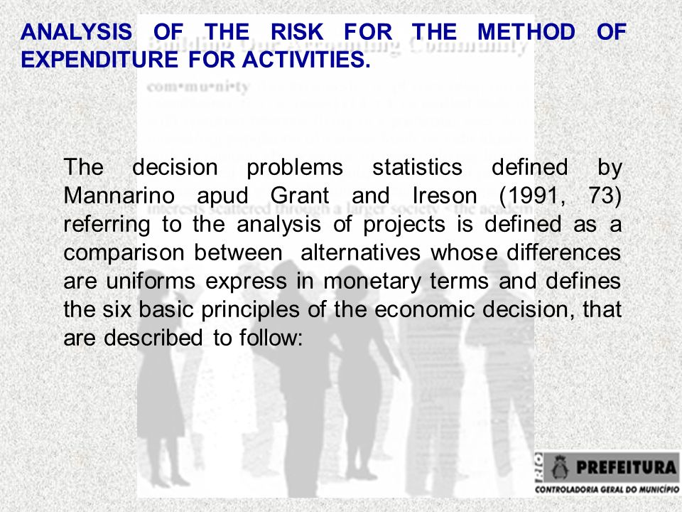 ANALYSIS OF THE RISK FOR THE METHOD OF EXPENDITURE FOR ACTIVITIES.