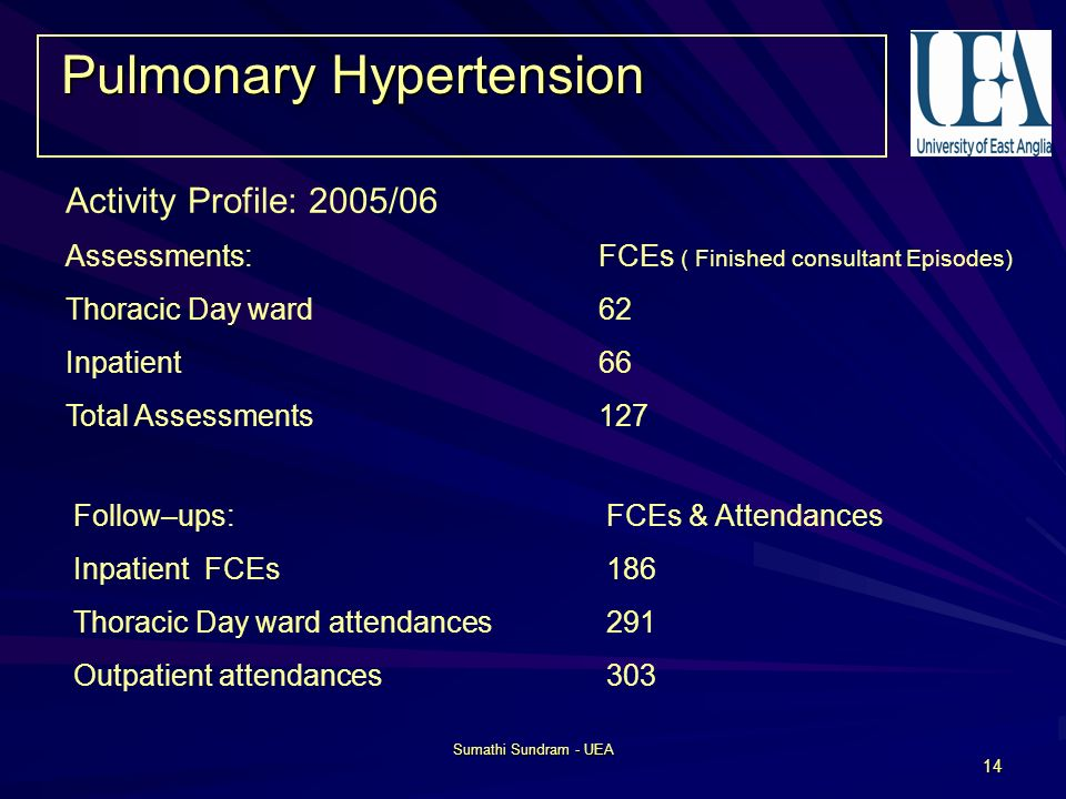 Sumathi Sundram - UEA 14 Pulmonary Hypertension Activity Profile: 2005/06 Assessments: FCEs ( Finished consultant Episodes) Thoracic Day ward 62 Inpatient 66 Total Assessments127 Follow–ups: FCEs & Attendances Inpatient FCEs 186 Thoracic Day ward attendances291 Outpatient attendances303