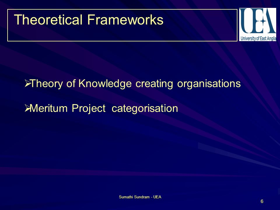 Sumathi Sundram - UEA 6 Theory of Knowledge creating organisations Meritum Project categorisation Theoretical Frameworks