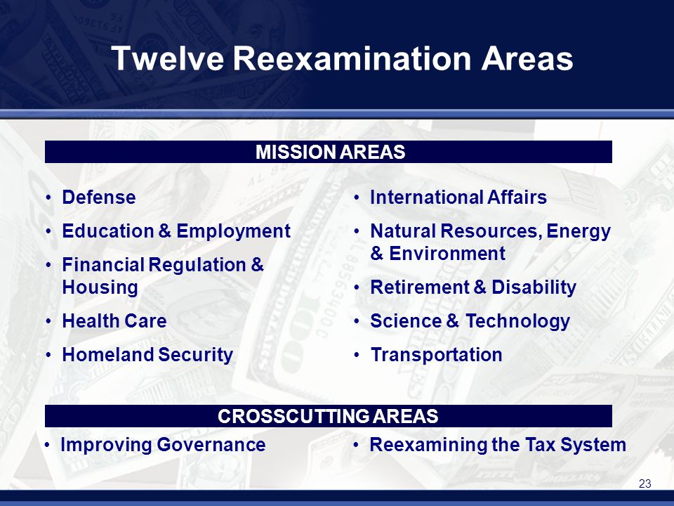 23 Defense Education & Employment Financial Regulation & Housing Health Care Homeland Security International Affairs Natural Resources, Energy & Environment Retirement & Disability Science & Technology Transportation Twelve Reexamination Areas Improving GovernanceReexamining the Tax System MISSION AREAS CROSSCUTTING AREAS