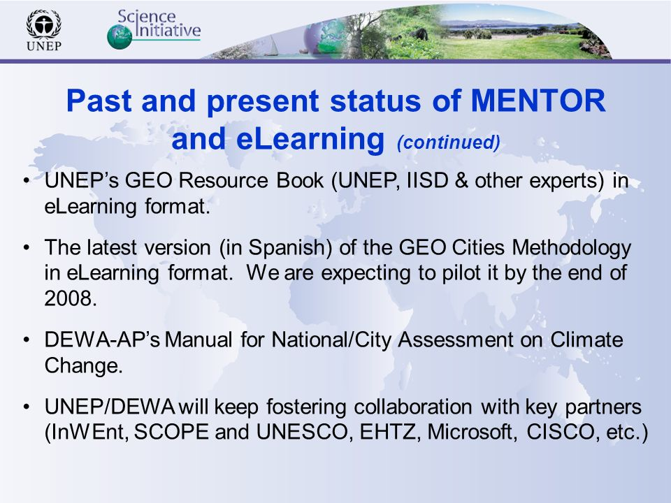 UNEPs GEO Resource Book (UNEP, IISD & other experts) in eLearning format.