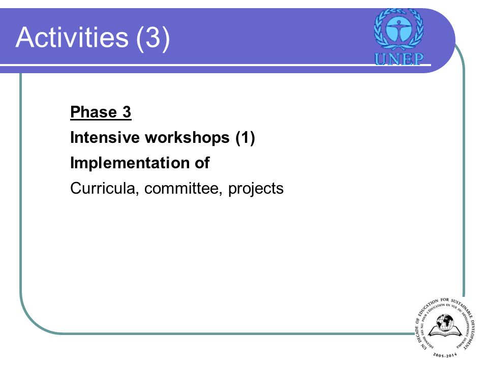Activities (3) Phase 3 Intensive workshops (1) Implementation of Curricula, committee, projects