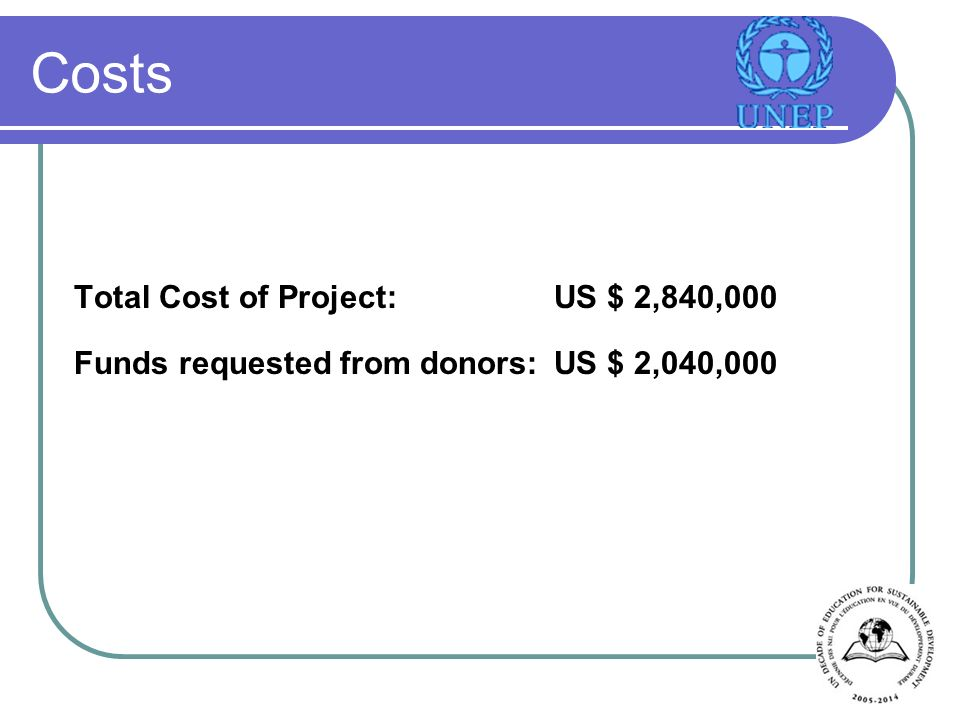 Costs Total Cost of Project:US $ 2,840,000 Funds requested from donors:US $ 2,040,000