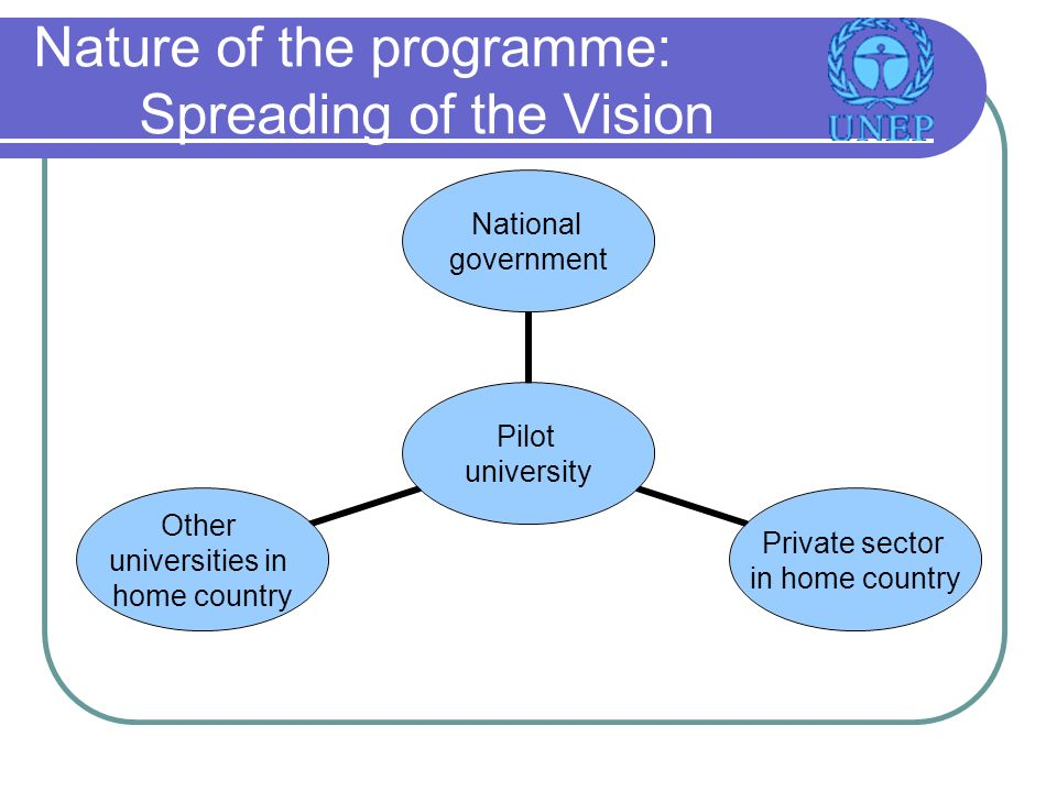 Nature of the programme: Spreading of the Vision Pilot university National government Private sector in home country Other universities in home country
