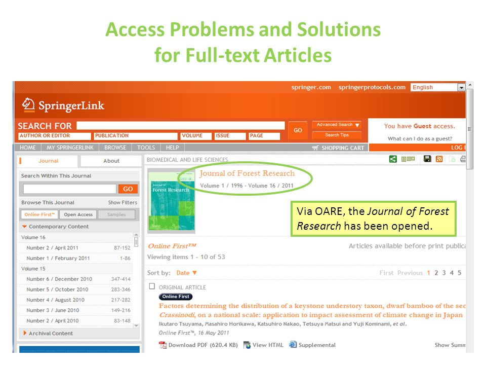 Access Problems and Solutions for Full-text Articles Via OARE, the Journal of Forest Research has been opened.