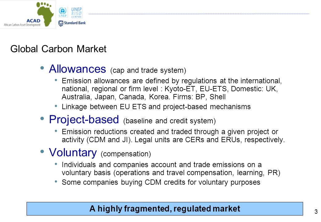 3 Global Carbon Market Allowances (cap and trade system) Emission allowances are defined by regulations at the international, national, regional or firm level : Kyoto-ET, EU-ETS, Domestic: UK, Australia, Japan, Canada, Korea.