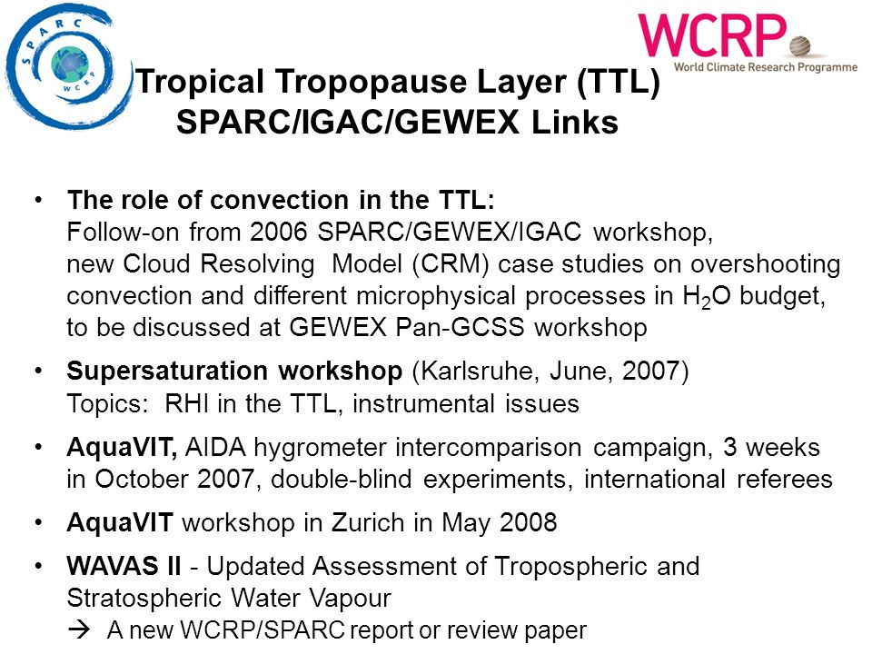 The role of convection in the TTL: Follow-on from 2006 SPARC/GEWEX/IGAC workshop, new Cloud Resolving Model (CRM) case studies on overshooting convection and different microphysical processes in H 2 O budget, to be discussed at GEWEX Pan-GCSS workshop Supersaturation workshop (Karlsruhe, June, 2007) Topics: RHI in the TTL, instrumental issues AquaVIT, AIDA hygrometer intercomparison campaign, 3 weeks in October 2007, double-blind experiments, international referees AquaVIT workshop in Zurich in May 2008 WAVAS II - Updated Assessment of Tropospheric and Stratospheric Water Vapour A new WCRP/SPARC report or review paper Tropical Tropopause Layer (TTL) SPARC/IGAC/GEWEX Links