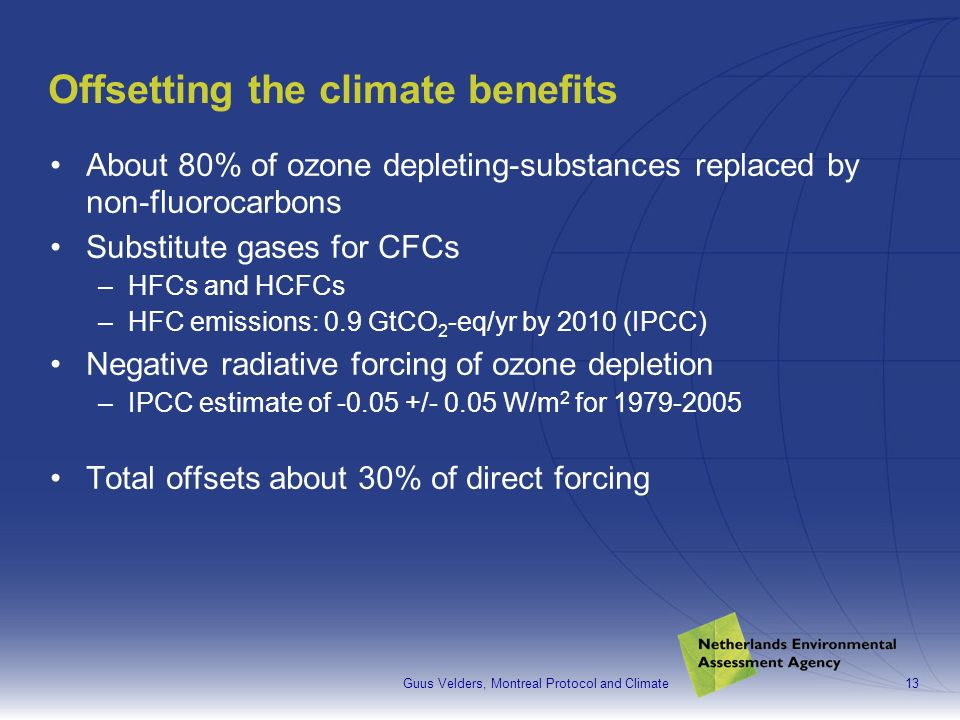 Guus Velders, Montreal Protocol and Climate13 Offsetting the climate benefits About 80% of ozone depleting-substances replaced by non-fluorocarbons Substitute gases for CFCs –HFCs and HCFCs –HFC emissions: 0.9 GtCO 2 -eq/yr by 2010 (IPCC) Negative radiative forcing of ozone depletion –IPCC estimate of -0.05 +/- 0.05 W/m 2 for 1979-2005 Total offsets about 30% of direct forcing