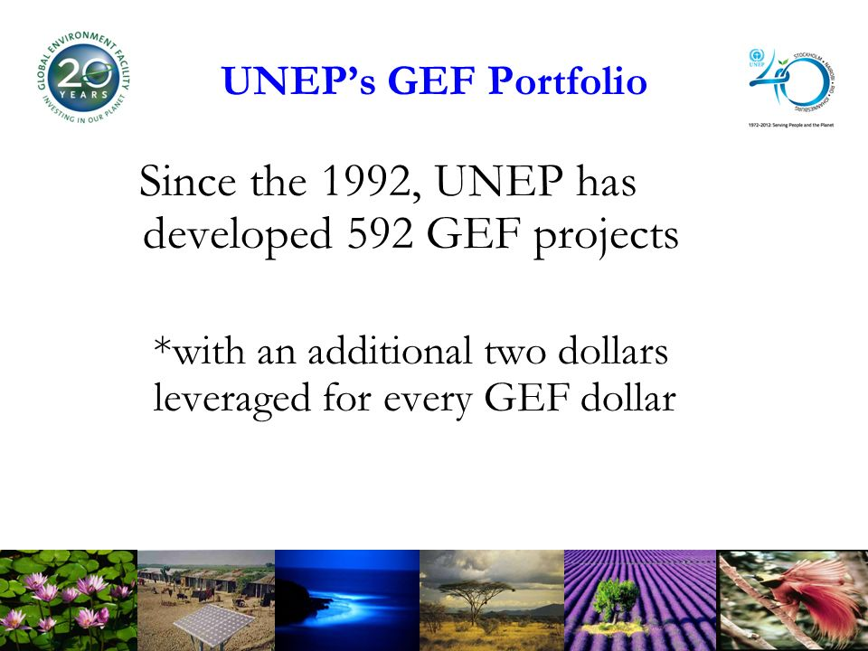UNEPs GEF Portfolio Since the 1992, UNEP has developed 592 GEF projects *with an additional two dollars leveraged for every GEF dollar